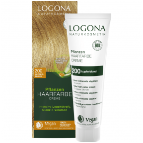 Logona augaliniai kreminiai plaukų dažai Herbal Hair Dye Cream 200 Copper Blonde, 150 ml